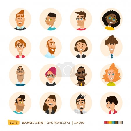 Illustration for Cartoon business people avatars set. EPS 10 - Royalty Free Image