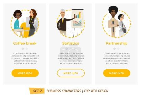 Illustration pour Jeu de caractères professionnels. Bannières pour votre web design en style business - image libre de droit
