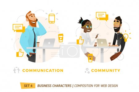 Illustration for Business characters in circles. Elements for web design. - Royalty Free Image