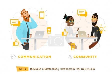 Ilustración de Personajes de negocios en círculos. Elementos para diseño web. - Imagen libre de derechos