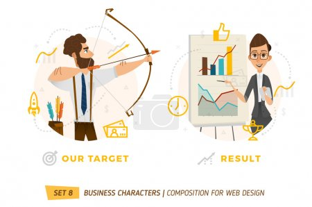 Illustration for Business characters in circles. Elements for web design - Royalty Free Image