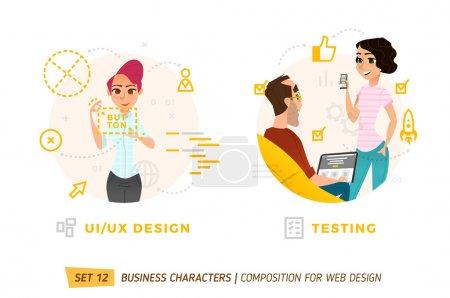 Illustration pour Personnages d'affaires en cercles. Éléments pour la conception web . - image libre de droit