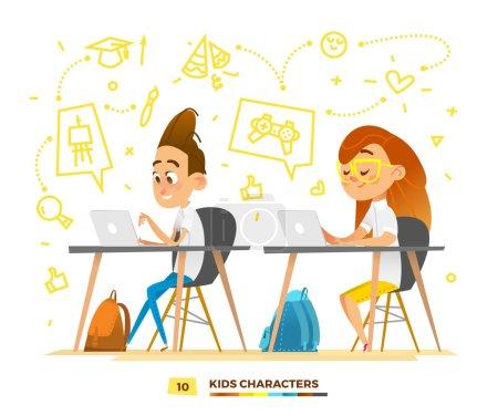 Illustration pour Heureux personnages élèves. Les enfants mignons jouent . - image libre de droit