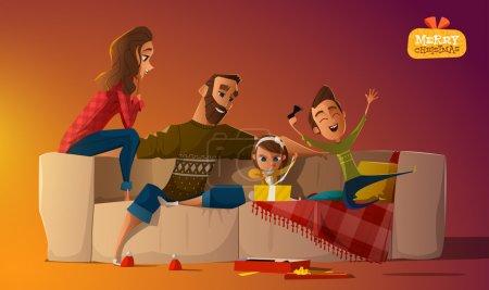 Illustration pour Idylle familiale sur canapé vecteur - image libre de droit
