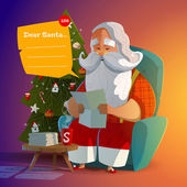 Santa Claus read letter in the evening