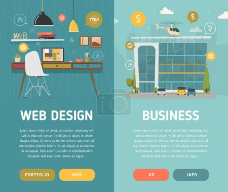 Illustration for Web design workplace and business center vector illustration - Royalty Free Image