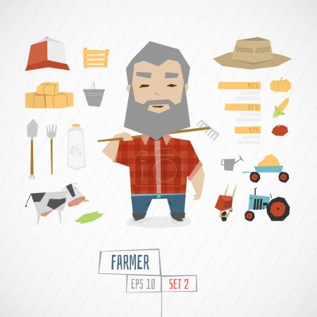 Photo for Funny Character farmer vector illustration - Royalty Free Image