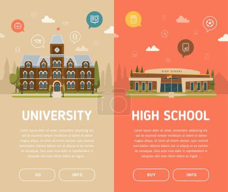 Illustration for University building and high school building vector illustration - Royalty Free Image