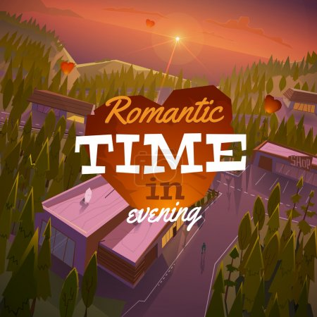 Illustration for Romantic landscape in evening - Royalty Free Image