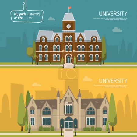 Illustration for University buildings background vector illustration - Royalty Free Image