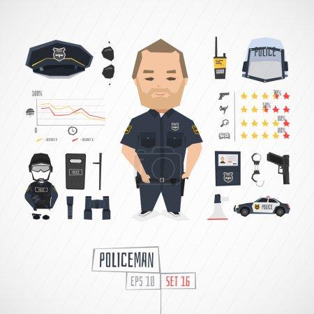 Illustration pour Illustration vectorielle de policier personnage drôle - image libre de droit