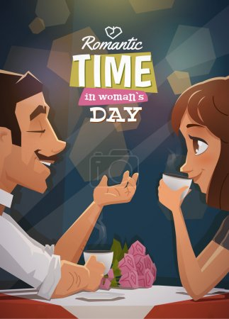 Illustration for Romantic time in woman day vector - Royalty Free Image