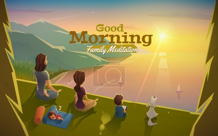 Illustration for Good morning, lets meditation with family vector - Royalty Free Image
