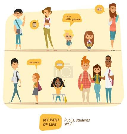 Illustration pour Icônes de collection étudiants et élèves - image libre de droit