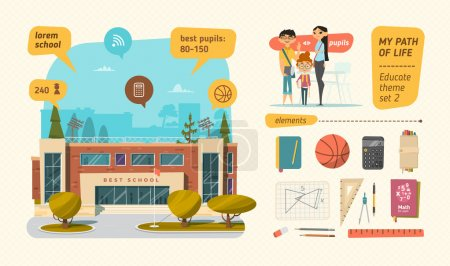 Illustration for School set with elements vector - Royalty Free Image