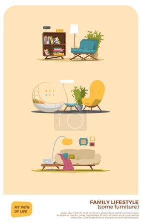 Illustration for Some furniture set vector illustration - Royalty Free Image