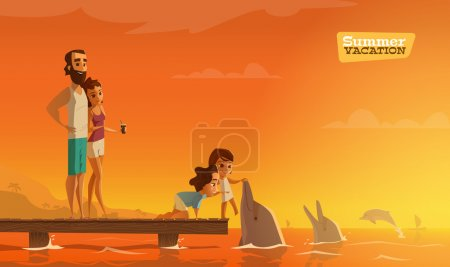 Illustration for Family summer vacation vector illustration - Royalty Free Image