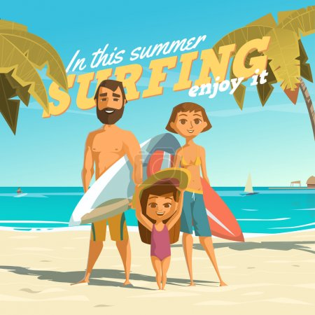 Illustration for Surfing in this summer. Enjoy it - Royalty Free Image