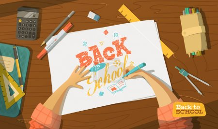 Illustration for Back to school drawing vector - Royalty Free Image