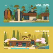 Two family house and sweet home banners