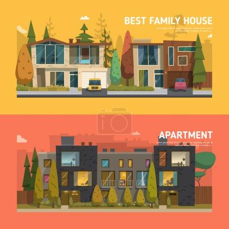 maison familiale et des bannières de l'appartement