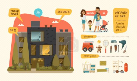 Illustration for Family house infographic with elements and characters - Royalty Free Image