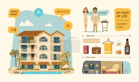 Illustration for Best hotel building in summer vacation, best choice - Royalty Free Image