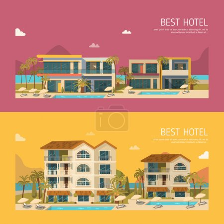 Illustration for Hotels banner set vector illustration - Royalty Free Image