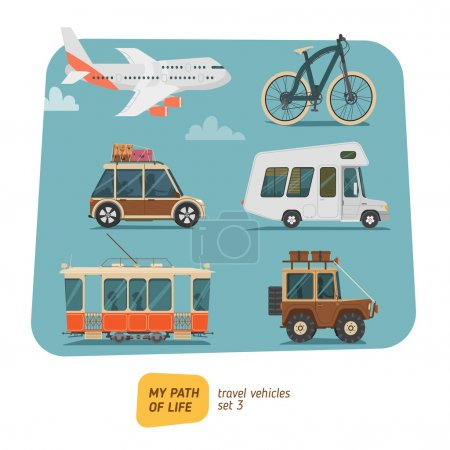 Illustration for Vehicles collection icons vector illustration - Royalty Free Image