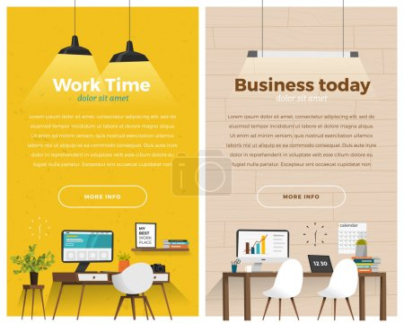 Two vertical banners with workplace.