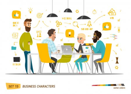 Illustration for Business cartoon characters collection. Vector - Royalty Free Image