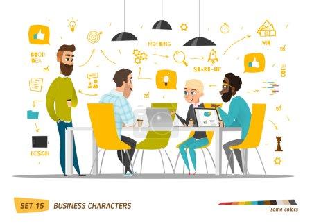 Illustration pour Collection de personnages de dessins animés d'affaires. Vecteur - image libre de droit