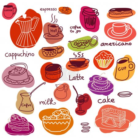 Coffee cups and sweet cakes and macaroons set.