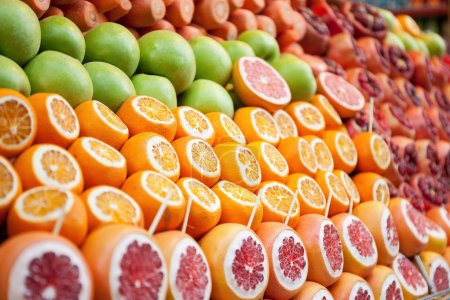 Rows of variety cut fruits