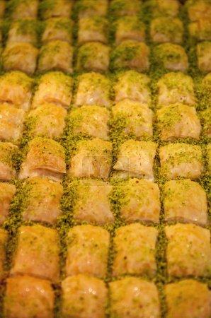 Rows of Turkish desserts