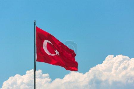 Turkish flag on pole