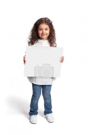Happy little girl with blank board