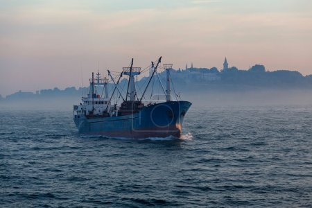 Cargo ship and Istanbul