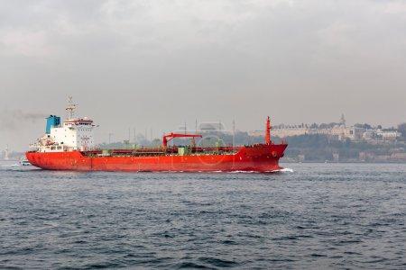 Red big cargo ship