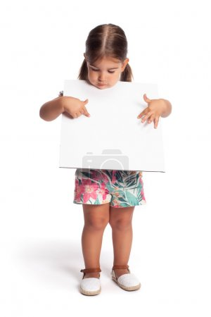 Little girl with blank board