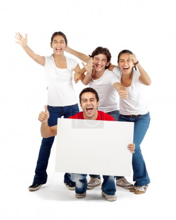 Group of friends holding blank board