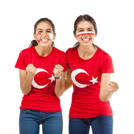Two female football fans