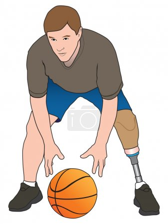 Illustration for Left leg amputee playing basketball - Royalty Free Image