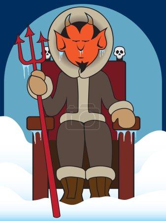 Illustration pour Le diable assis sur son trône dans un enfer gelé - image libre de droit