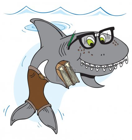 Smiling nerd shark treading water and holding book...