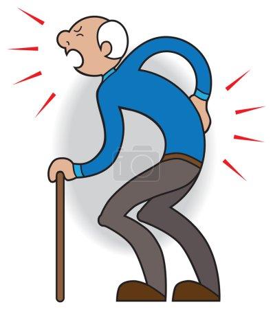 Illustration pour Homme plus âgé avec la canne souffrant de douleurs et de douleurs - image libre de droit