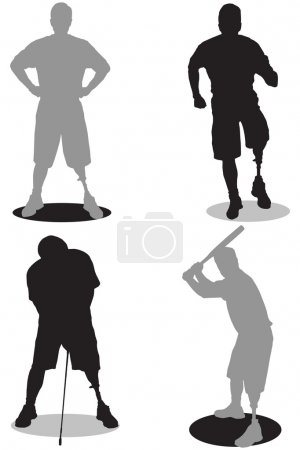 Illustration for Left leg amputee engaged in various activities in silhouette - Royalty Free Image