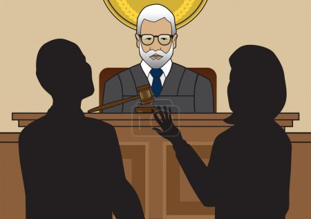 Illustration pour Le juge écoute deux avocats plaider leur cause - image libre de droit