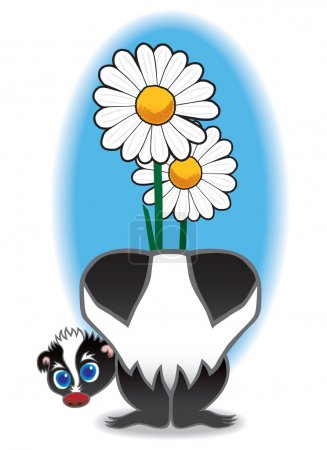 Baby skunk with flower