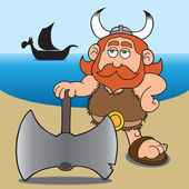 A cartoon viking surveying his surroundings from a beach he has just landed on